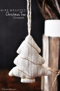 No rustic or country Christmas décor is complete without a festive sweater Christmas tree knickknack. Learn how to finalize your holiday theme with this wire-wrapped Christmas tree ornament tutorial by Cherished Bliss. Country Christmas Decorations, Rustic Christmas, White Christmas, Christmas Holidays, Primitive Christmas, Outdoor Christmas, Christmas Christmas, Christmas Tree Sweater, Christmas Tree Ornaments