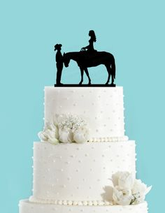 Country Wedding Couple and Horse Acrylic Wedding Cake Topper