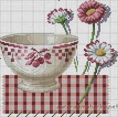 DMC BK286 Red Bowl and Daisies