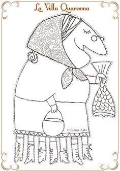 la meva maleta: La Vella Quaresma (Old Mother Lent) Easter Activities, Art Activities, Old Mother, Lent, Colorful Pictures, Greek Easter, Coloring Pages, Religion, Aurora Sleeping Beauty