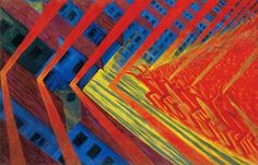 Luigi Russolo The Revolt 1911 abstracted figures pulling chevron shapes with grid-like patterns behind