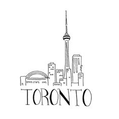 City Sketch  TORONTO  Black and white Illustration  by INKUdesign