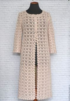 Buy or order Summer lace coat Co . - All Photos Gilet Crochet, Crochet Coat, Crochet Jacket, Crochet Cardigan, Crochet Clothes, Crochet Patron, Coat Patterns, Jacket Pattern, Short Sleeve Dresses