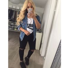 Black shoes and jeans. B&W top, denim jacket