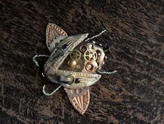 Mechanical Insect with Metal Gears Polymer Clay Steampunk Bug Pin