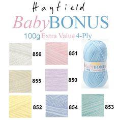 Hayfield by Sirdar Baby Bonus 4 Ply 100g Knitting Wool Yarn - ALL COLOURS in Crafts, Crocheting & Knitting, Wool & Yarn | eBay