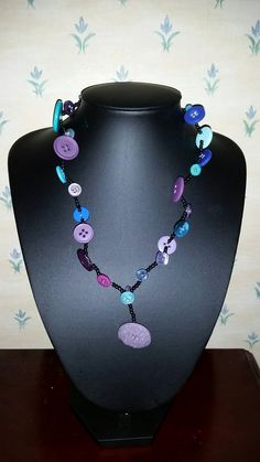 This item is unavailable Fashion Necklace, Purple, Blue, My Etsy Shop, Handmade Jewelry, Beaded Necklace, Buttons, Check, Shopping