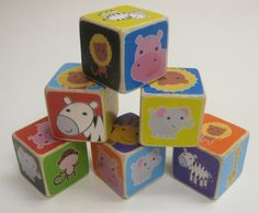 Wood Block Toy or Decor  Jungle Animals  Set of 6 by HollyLicari, $28.50
