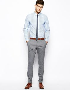 grey tie light blue shirt