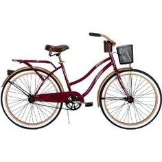 Huffy 26-Inch Ladies Cruiser Deluxe Bike (Raspberry) from Target. Love this bike! It was relatively inexpensive, but perfect for riding around the neighborhood. Target puts the bike together for you, too.