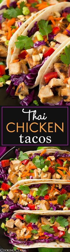 Thai Chicken Tacos with Peanut Sauce - these are unbelievably good!! The chicken would also be great for Thai salads and noodle bowls.