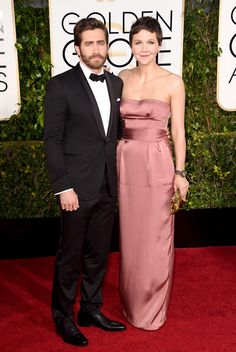 The 2015 Golden Globe Awards: Jake Gyllenhaal and Maggie Gyllenhaal, in Miu Miu