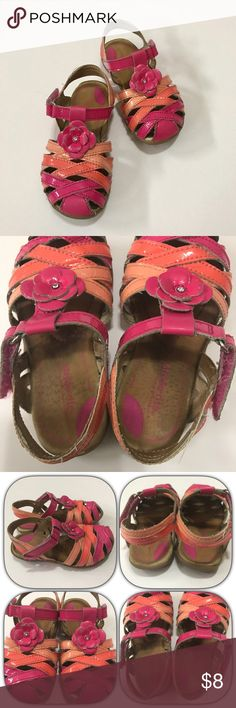Stride Rite SR sandals Stride Rite SR sandals in orange/coral & pink colors. Are worn but still have life left; no box and size has rubbed off. Stride Rite Shoes Sandals & Flip Flops