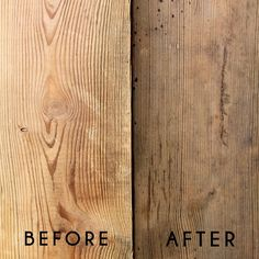 Take your wood from new to aged with a few household ingredients.  http://thehuntedinterior.blogspot.com/2012/02/natural-gray.html