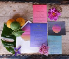 For our invitation suite, I chose colors, techniques, and fonts that would set the tone for a wedding weekend in Palm Springs and our reception at Joshua Tree. All of our printed pieces were perfectly coordinated, right down to an ombré moon custom postage stamp.