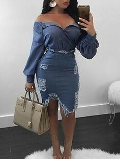 Shop Two-Piece Dresses Sexy Slinky Distressed Denim Top &Skirt Set Denim Top, Blue Denim, Moda Outfits, Cute Outfits, Fashionable Outfits, Denim Decor, Estilo Jeans, Denim Fashion, Womens Fashion