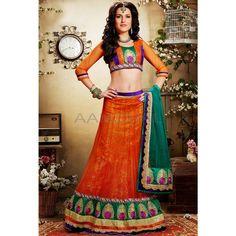 Orange Net #Lehenga Choli With Dupatta #IndianLehenga #WomenClothing #EthnicWear #WomenWear #WomenFashion