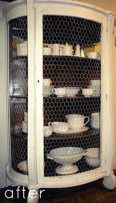 Repurposing an Old China Hutch with Chicken Wire Paint. maybe not this piece but I like the concept and I always love chicken wire Especially if the glass is broken and missing Refurbished Furniture, Repurposed Furniture, Furniture Makeover, Painted Furniture, Primitive Furniture, Furniture Projects, Diy Furniture, Diy Projects, Resale Furniture