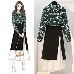 Size (cm) Bust Shoulder waist Skirt Sweater Length weight (kg) M 96 37 68 75 71 L 102 39 74 76 72 XL 108 40 80 77 73 116 42 86 78 74 122 43 92 79 75 skirt Shirt letters pattern long skirt two-piece Frock Fashion, Kpop Fashion, Cute Fashion, Hijab Fashion, Korean Fashion, Girl Fashion, Fashion Drawing Dresses, Fashion Illustration Dresses, Fashion Dresses