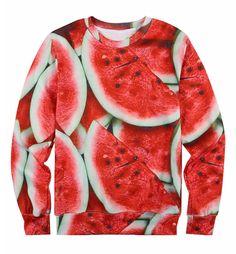 Red Melon Print Unisex Fleece Sweater