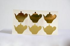 12 gold tea pot sticker  by papirea