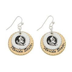 """Silver Tone Fishhook Earrings Featuring Two Mixed Metal Disk Stamped """"Florida State"""" J and D Jewelry and More http://www.amazon.com/dp/B00STSK3XY/ref=cm_sw_r_pi_dp_6i5wwb1ZHVNMD"""