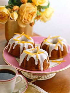 Although these individual pound cakes are suppose to serve one, you may want to share with another guest. Each cake is drizzled with chocolate ganache and vanilla icing.