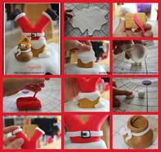 Want to learn how to make a Santa with his legs poking out of the chimney. This is a great fondant tutorial with 23 images and detailed description of how to make this wonderful topper.