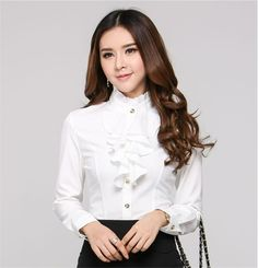 61f78b30b87 2016 Fashion stand collar long sleeve female shirt OL office Formal elegant  ruffles chiffon women s blouse plus size bow tops