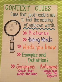Context clues anchor chart (picture only) Reading Lessons, Reading Strategies, Reading Skills, Teaching Reading, Reading Comprehension, Guided Reading, Comprehension Strategies, Math Lessons, Teaching Ideas