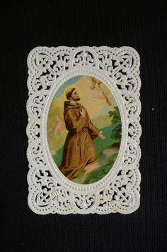 Antique holy card Paper lace Saint Francis par PapersOfOld sur Etsy, $10.00