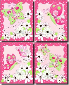 Set of 4 Hot Pink Daisy Butterfly Girls Bedroom by ToadAndLily, $20.00