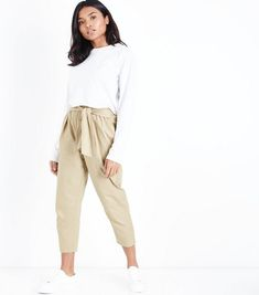 Petite Stone Cotton Paperbag Waist Trousers | New Look