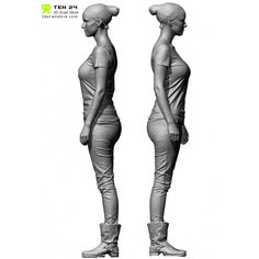 3D Scan - Shaded Female 02 Pose 1