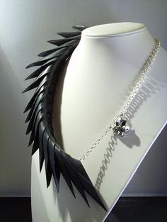 Post apocalyptic black rubber spine necklace upcycled jewellery on Etsy, $65.49 CAD