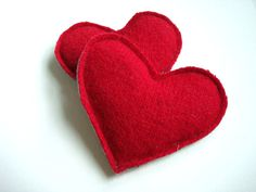 Valentine Hand Warmers RED Hot Hearts Handwarmers Felted Sweater Wool Rice Bags by WormeWoole on Etsy, $15.00