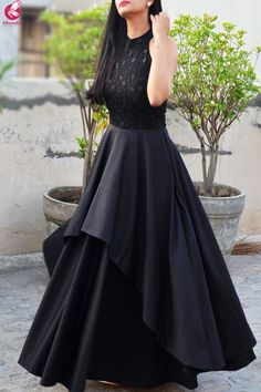 Black Padded Double Flair Embroidered DressYou can find Western dresses and more on our website. Party Wear Indian Dresses, Indian Gowns Dresses, Dress Indian Style, Indian Wedding Outfits, Evening Dresses, Pakistani Dresses, Lehenga Choli Designs, Long Gown Dress, Lehnga Dress