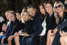 Front row: (L-R) James McCartney, Mary McCartney, Natalia Vodianova, Alasdhair Willis, Nancy Shevell, Paul McCartney and Kate Moss