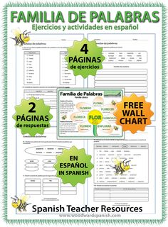 4 pages of exercises about familias de palabras (Word Families) in Spanish. Includes a wall chart/poster (A4). ---- 4 páginas de ejercicios acerca de Familias de Palabras en español. Incluye un afiche.