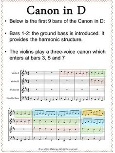 Music lessons for kids: Music Listening: Pachelbel's Canon in D Listening and Music Composition Activity. Music Lessons For Kids, Piano Lessons, Kids Music, Pachelbel's Canon, Music Classroom, Classroom Resources, Classroom Ideas, Teaching Music, Learning Piano