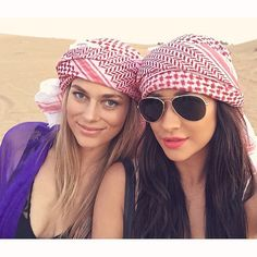 On a New Year's Even trip to Dubai exploring the desert, Shay suddenly makes us need this headscarf. So chic.