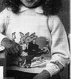 1980S BUNNYKINS SKATING CHILDS JUMPER BOYS GIRLS 58-80 CMS 5PLY KNITTING PATTERN