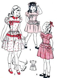 Items similar to Girls Dress Pattern Butterick 4384 Puff Sleeve Dirndl Skirt Dress Bow Trim Childrens Vintage Sewing Pattern Breast 23 on Etsy Childrens Sewing Patterns, Vintage Sewing Patterns, Vintage Kids Fashion, 1940s Fashion, Grandma Clothes, American Girl Dress, Sewing Kids Clothes, Retro Kids, Vintage Paper Dolls