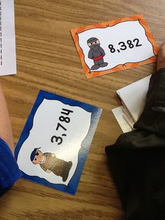 """Pirates vs. Ninjas.  This fun game is designed to help students compare 4-digit numbers.  Each pair is either the """"Pirates"""" or the """"Ninjas.""""  The players flip over a card and compare the numbers.  The student with the largest number is the winner.  There is also a student record sheet for accountability.  This was a favorite during my math centers. ($3)"""