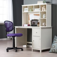 Piper Desk With Optional Hutch Set - Vanilla