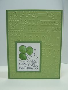 Stampin Up Handmade Greeting Card: Birthday Card, Masculine Birthday Card, Green and White, Embossed, Hand-Stamped, Hand-Colored on Etsy, $3.50