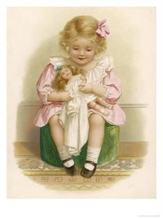 Little Girl in a Pink Dress with a Pink Ribbon in Her Hair Dresses Her Doll by Ida Waugh by nancy Girl Doll Clothes, Girl Dolls, Baby Dolls, Vintage Ephemera, Vintage Postcards, Vintage Girls, Vintage Children, Vintage Pictures, Vintage Images