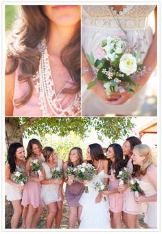 Shades of pink bridesmaid dresses.... MAYBE DIFFERENT COLORED/STYLED DRESSES