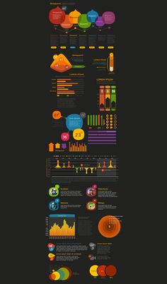 Love the colors on black: Crooked Stats - Stats Infographic Kit Demo | PixelKit