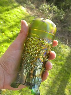 Antique Northwood Carnival Glass Grape & Cable Hatpin Holder Lime Green